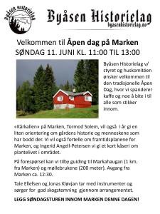 Velkommen til Åpen dag på Marken SØNDAG 11. JUNI KL. 11:00 TI